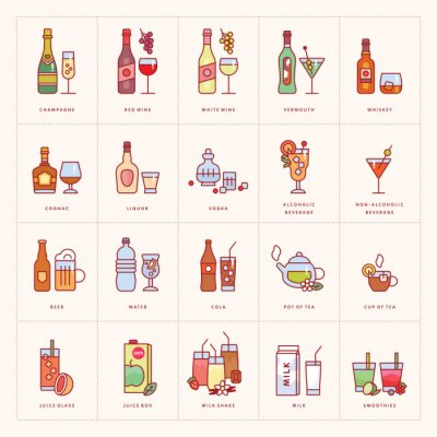 Drinks and beverages icons isolated on background