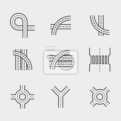 Droga do wiaduktu Crossroad wąska Minimalistyczna liniowa linia Circle Solid Stroke Icon Piktogram Zestaw znaków symboli