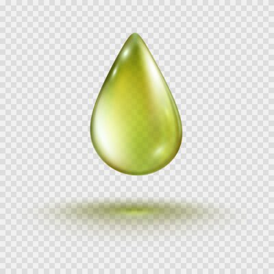 Drop isolated on transparent background. Cosmetic olive oil bubble. Golden gel template. Vector realistic green serum droplet