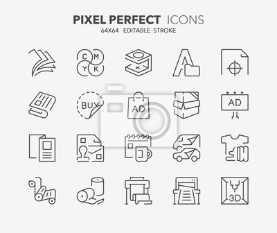 Naklejka drukowanie ikon cienkich linii