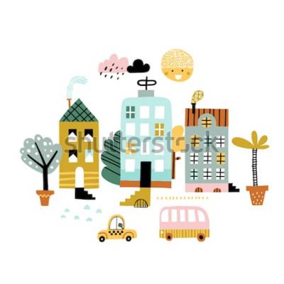 Naklejka Drukuj miasto kreskówki. Dziecinna wektorowa ilustracja z drapaczem chmur, budynkami i samochodami. Projekt plakatu, karty, torby i koszulki, okładki. Pastelowe kolory. Styl skandynawski.