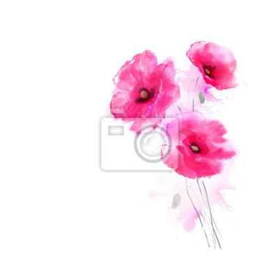 Drzewa kwitnące różowe maki. Pozdrowienia karty.