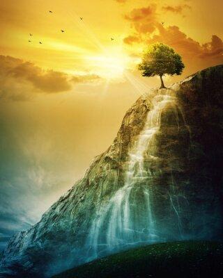 Naklejka Drzewa Wodospad