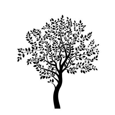 Naklejka Drzewo czarny samodzielnie na białym tle