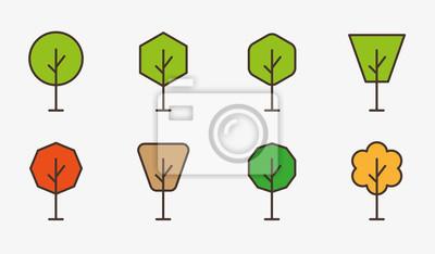 Drzewo Drzew Las Oddział Zielony Park Plant Minimalistyczne Kolor Płaską Linię Ikona Vector