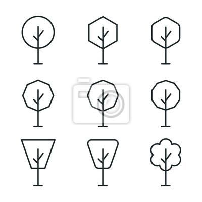 Drzewo Drzew Lasu Oddzia? Zielony Park Plant Minimalistic Flat Line Vector Icon