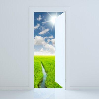 Naklejka Drzwi otwarte na zielonym polu kosmetycznym