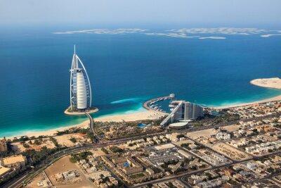Naklejka Dubaj, Zjednoczone Emiraty Arabskie. Burj Al Arab od góry