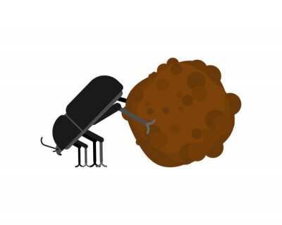 Naklejka Dung beetle and dung ball isolated. vector illustration