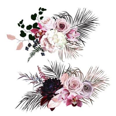 Naklejka Dusty rose, hydrangea, pink cymbidium orchid, berry, bronze, black palm leaves