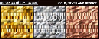 Naklejka Duża metalowa paczka. Kolekcja gradientu złota, srebra i brązu dla projektu. Wektor gradienty zestaw.