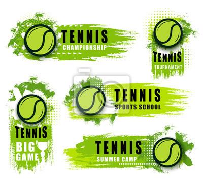 Naklejka Duże ikony gry w tenisa z piłką i kroplami