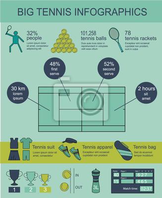 Duże infografiki wektorowe tenis