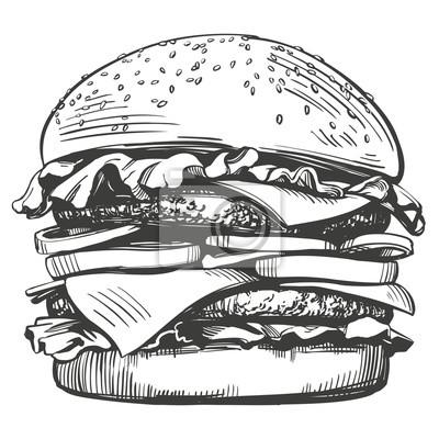 Naklejka duży burger, hamburger ręcznie rysowane wektor ilustracja szkic w stylu retro