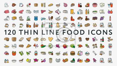 Duży Zestaw 120 Cienkich Kolorów Linii Udar Ikony Żywności. Mięso, mleko, owoce morza, makaron, zupa, chleb, jajko, ciasto, słodycze, owoce, warzywa, napoje, żywienie, pizza, ryby, sos, ser, masło, or