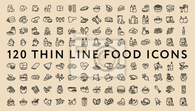 Duży Zestaw 120 Cienkich Linii Naprężenie Ikony Żywności. Mięso, mleko, owoce morza, makaron, zupa, chleb, jajko, ciasto, słodycze, owoce, warzywa, napoje, żywienie, pizza, ryby, sos, ser, masło, cias
