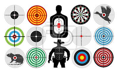 Naklejka Duży zestaw celów izolowane Zwierzęta Ludzie kowbojski człowieka. Cele do strzelania. Łucznictwo. Płyta rzutki. wektor