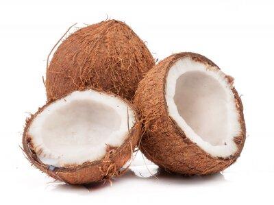 Naklejka Dwa kokosowe z których jeden podzielony izolowane
