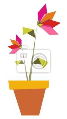 Dwa Origami żywe kolory kwiatów.