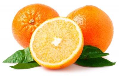 Naklejka Dwa pomarańczy samodzielnie na białym tle