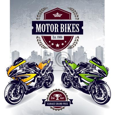 Dwa sportowe motocykle z godłem klubu stylowe