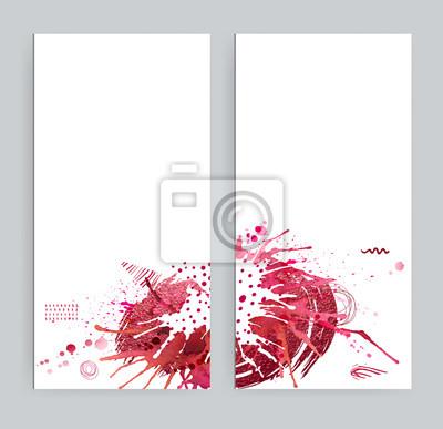 Dwa transparenty z abstrakcyjnych eklektycznych zdjęć. Jasne plamy akwarela, czerwone plamy, kształty i elementy geometryczne tekstury na białym tle.