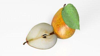 Naklejka Dwie gruszki, jeden krojone na pół, pojedyncze owoce na białym tle