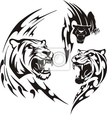 Dwie lwice i czarna pantera. Tribal drapieżników.