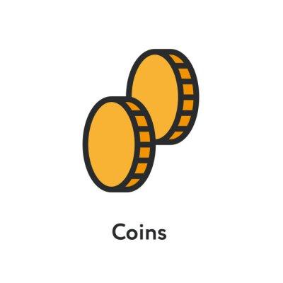 Dwie monety pieniądze gotówki minimalna kolor linia płaskich zarys ikona obrysu