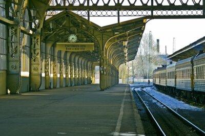 Naklejka Dworzec kolejowy, zegar, i