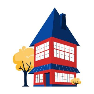 Dwupoziomowy czerwony dom z dużym niebieskim dachem