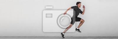 Naklejka Działający mężczyzna biegacza szkolenie robi plenerowemu miastu bieg biec sprintem wzdłuż ściennego tła. Miejski zdrowy aktywny tryb życia. Mężczyzna sportowiec robi sprint hiit trening interwał wysok