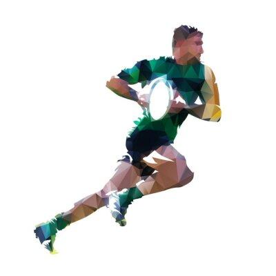 Działający rugby gracz z piłką, abstrakcjonistyczna niska poli- odosobniona wektorowa ilustracja