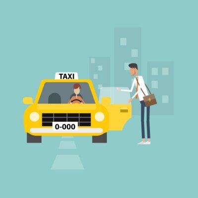 Naklejka działalności człowieka coraz taxi iść do pracy w biznesie miasta