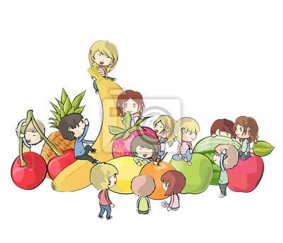 Dzieci bawiące się razem wokół owoców. Vector design.