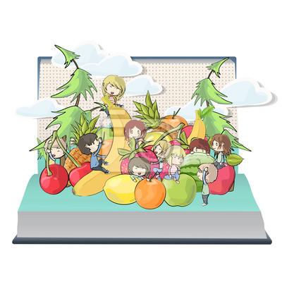 Dzieci bawiące się wokół owoców wewnątrz książki.