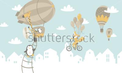 Naklejka Dzieci graficzne ilustracja. Wykorzystanie do montażu na ścianie, poduszek, dekoracji wnętrz dla dzieci, ubrań dla dzieci i koszul, kart okolicznościowych, wektorów i innych