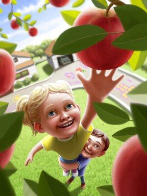 Naklejka Dzieci idące do jabłkiem
