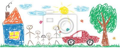 Naklejka Dzieci rysunek wesoła rodzina, dom, drzewo, samochód, słońce. Ilustracja kolorowy na białym tle wektor