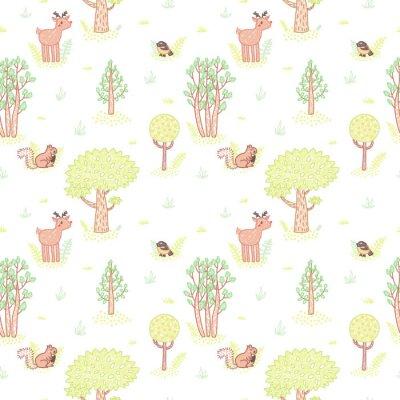 Naklejka Dzieci styl rysowania Słodkie doodle drzewa wektor szwu.