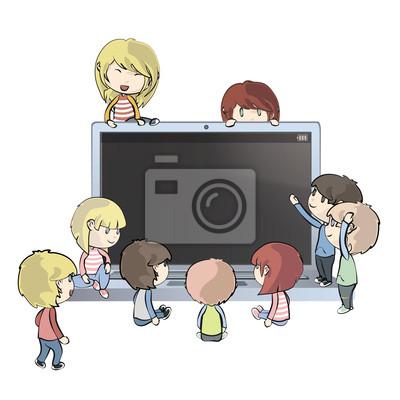 Dzieci w komputerze. Vector design.