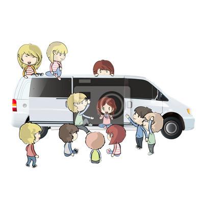 dzieci w samochodzie. Vector design.