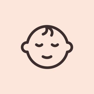 Dziecko dziecko dziecko szczęśliwy minimalistyczny płaskiej linii solidny udar ikona piktogram symbol