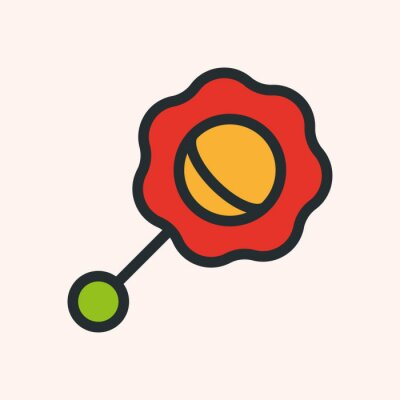 Dziecko grzechotka zabawka minimalistyczna płaska linia solidny udar ikona piktogram symbol