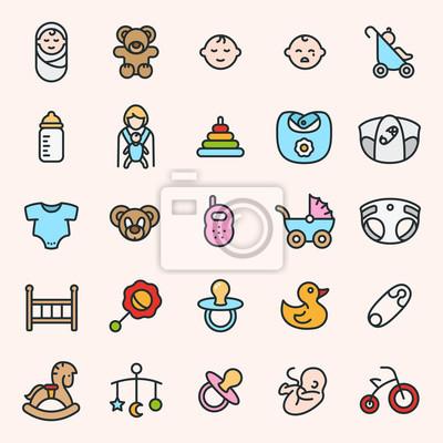 Dziecko Minimalistyczne Kolorowe Symbole Płaskiej Linii Piktogramowej Kolekcja Zestawów Symbolów