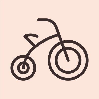 Dziecko rower rower zabawka minimalistyczny płaska linia koło stałe udar ikona piktogram symbol