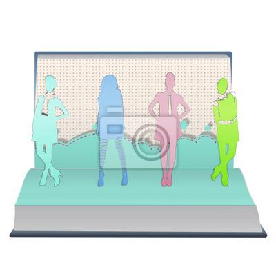 Dziewcząt Silhouette drukowane na otwartej księdze. Vector design.