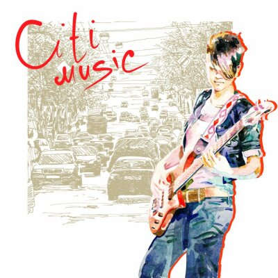 Dziewczyna nastolatek grając na gitarze w tle miasta