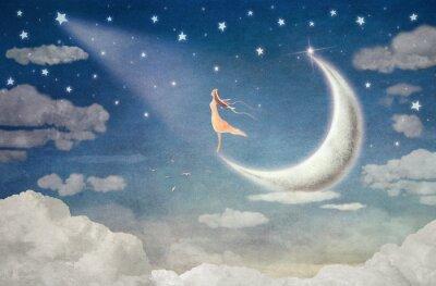 Naklejka Dziewczyna podziwia księżyca na nocnym niebie - Ilustracja sztuki