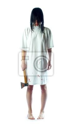 Dziewczyna z siekiery i mokre włosy